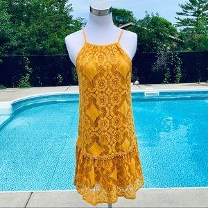 Skylar & Jade Mustard Yellow Lace Mini Dress Med